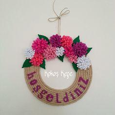 Kokoş Keçe : Evinize, ofisinizin kapısına renk katacak ''Çiçekli Hoşgeldiniz Kapı Süsü''