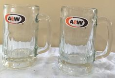 "Set of 2 A w Vintage Root Beer 14 oz Heavy Glass Mug 5 3 4"" Thumbprint 