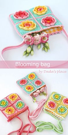 For this flower crochet bag you only have to make four blooming granny squares (which are the part of the Blooming blanket pattern, by Dada's place), join them together with single crochet, add a strap and you're ready to go! The step-by-step pictures makes this crochet pattern suitable for beginners! #crochetbag #crochetpattern #crochet
