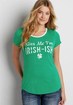 2f8644e50038e ringer tee with kiss me I m Irish-ish graphic (original price