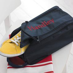 A superb hard wearing, good quality sports shoe bag. Great to carry a muddy pair of rugby boots, football boots or trainers.The embroidery area for a name or word is a maximum of 18cm in length.Personalise the bag with a name, initials or a word of your choice. We have a wide range of colours available for the embroidery and also a range of different type of fonts, from formal to fun! The bag makes a great gift for the man in your life, or anyone that wants to keep their sports bag mud…