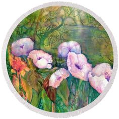 Poppy Flowers Round Beach Towel featuring the painting White Poppy Flowers at the Pond by Sabina Von Arx Green Bathroom Decor, Poppy Flowers, Creative Colour, Painting Techniques, Beach Towel, Color Show, Pond, Fine Art America, Colorful Backgrounds