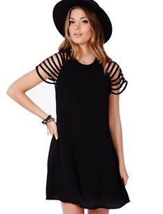 Black Cut Out Short Sleeve Swing Dress
