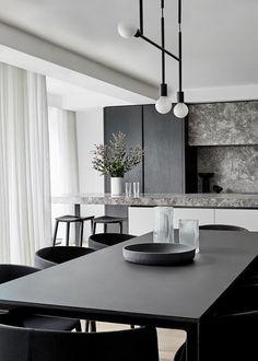Monochrome Interior, Black Interior Design, Contemporary Interior Design, Modern Interior, Interior Architecture, Interior Design Living Room, Living Room Contemporary, Contemporary Apartment, The Design Files