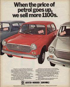 Austin Morris 1100 1970 1970s Advert Magazine Vintage Advertising Classic Motors, Classic Cars, Classic Mini, Retro Cars, Vintage Cars, Morris Marina, Magazine Advert, Van Car, Morris Minor