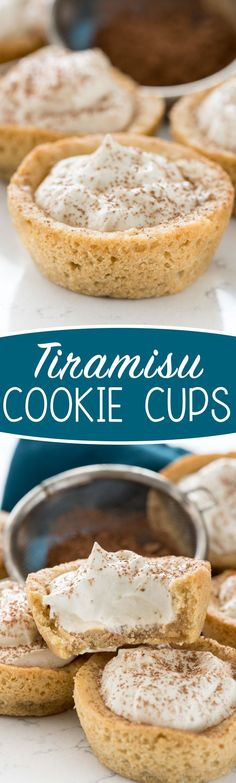 Tiramisu Cookie Cups - these easy from scratch sugar cookie cups are filled with my favorite tiramisu mousse! My family loved them! (oreo cookie recipes with pudding) Great Desserts, Mini Desserts, Cookie Desserts, Cookie Recipes, Delicious Desserts, Dessert Recipes, Plated Desserts, Dessert Cups, Italian Desserts