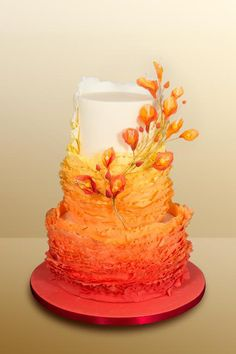 32 Orange & Yellow Fall Wedding Cakes with Maple Leaves , Pumpkins & Sunflowers