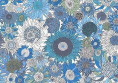Small Susanna sunflower Liberty of London, blue and aqua sunflower