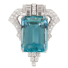 Aquamarine Diamond Pin | From a unique collection of vintage brooches at https://www.1stdibs.com/jewelry/brooches/brooches/