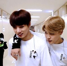 I love how Jimin is older but like Kookie's a foot taller and so Jimin's having a hard time putting his arm around him cx
