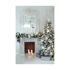 4663 Elegant White Christmas Tree Decorations and Fireplace Backdrop (52 CAD) ❤ liked on Polyvore featuring home and home decor
