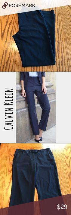 "Calvin Klein Navy trouser pants. Size 8. Like new Calvin Klein Navy trouser pants. Size 8.   Polyester/rayon/spandex. 31"" long. 8 1/2"" rise. 9 1/2"" cuff Calvin Klein Pants Boot Cut & Flare"
