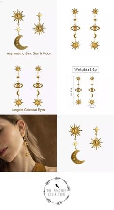 Our Celestial Eye earrings feature bohemian and bit of baroque gold style with stars suns moons and the eyes. The earrings are listed from longest to shortest. Yellow Gold Last Chance = FINAL SALE Gold Tassel Earrings, Tassel Jewelry, Black Earrings, Beaded Earrings, Statement Earrings, Earrings Handmade, Hipster Jewelry, Cool Presents, Gold Style