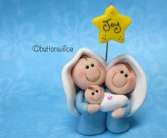 Itty Bitty Nativity Set Ornament or Figurine with Yellow Personalized Star, Hand sculpted Original Design