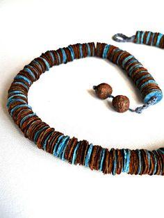 LA M E L L A R I - blu and brown - collana girocollo di carta
