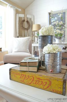 How to Decorate with Vintage Decor Coke Crate and flour sifter turned vase,,,