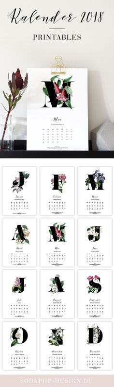 """Printable Kalender """"Botanicals"""". Kalender zum Ausdrucken für 2018. Free printable."""
