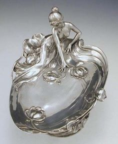 Art Nouveau WMF polished pewter card tray with maiden, 1906 | JV Maybe a soap dish on the vanity? (scheduled via http://www.tailwindapp.com?utm_source=pinterest&utm_medium=twpin&utm_content=post16557336&utm_campaign=scheduler_attribution)