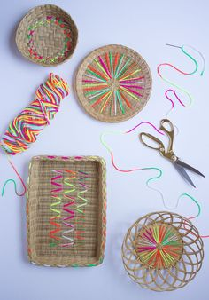 Gussy up thrifted baskets with neon yarn! #DIY