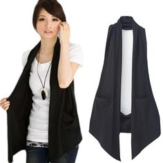 Spring Women& All-match Slim Black Colete Vest Women Casual Waistcoat Vests Ladies Fashion Clothing Plus Size Vest Outfits For Women, Mode Outfits, Vest Coat, Vest Jacket, Western Outfits, Mode Kimono, Party Jackets, Coats For Women, Clothes For Women
