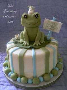 """Grant - This is one of the first cakes I made in the beginning of this year.  Everything is made from fondant (including frog) and is edible. Cake is vanilla with vanilla buttercream. This is a 6"""" cake that sits on top of one of my cupcake tree."""