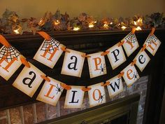 Happy Halloween Black and Orange Banner Spider Garland Great Photo Prop Sign for $24.00 at etsy.com