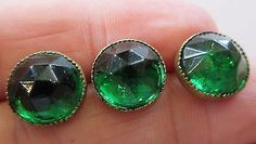 Stunning Lot of 3 Antique Faceted Emerald GLASS in Metal Waistcoat BUTTONS Set