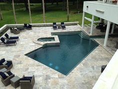 Swimming Pool Waterfall, Swimming Pool Tiles, Pool Plaster, Pool Pavers, Travertine Pavers, Pool Coping, Backyard Retreat, Pool Decks, Front Yard Landscaping