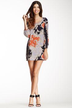 Peach Love Cream Baroque Print Dress