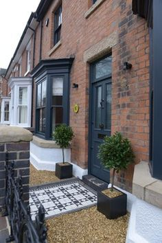 Terraced House Refurbishment in Stone traditional-exterior - Smart House - Ideas of Smart House - Terraced House Refurbishment in Stone traditional-exterior Victorian Front Doors, Victorian Porch, Grey Front Doors, Victorian Cottage, Painted Front Doors, Front Door Colors, Victorian Homes, Farrow And Ball Front Door Colours, Victorian Design