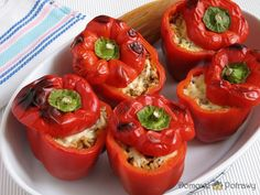 Polish Recipes, Grilling, Food Porn, Tasty, Stuffed Peppers, Snacks, Meals, Vegetables, Cooking