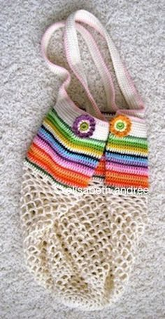 Mesh Bag By Elisabeth Andree- Free Crochet Pattern - (elizabethandree.wordpress) #crochetstitches