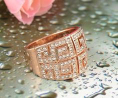 Rose Gold/Platinum Plated Greek Pattern #Ring With Austrian #Crystals