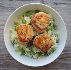 Seared Scallops with Spring Vegetable Risotto. A gorgeous, celebratory meal for spring.