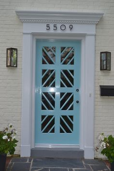 custom-made front door (Chippendale lines w/ glass) - Lucy Williams interior design blog