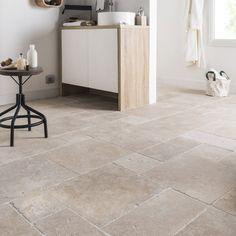 Travertin sol et mur intenso effet pierre beige Travertin l.40 x L.60 cm