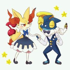 Beautiful ♡ Ash's Frogadier and Serena's Braixen ^_^ ^.^ ♡ #Amourshipping ^.^ ♡