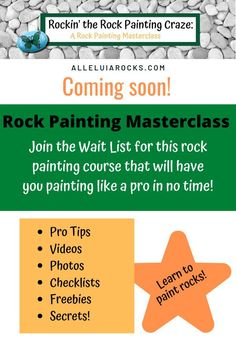 Are you ready to start painting rocks for gifting or selling? All my secrets (Alleluia Rocks) will be revealed in this 7-chapter course filled with Pro Tips, videos, images, freebies, checklists, and more! JOIN the Wait List for early access and VIP pricing! #rockpainting #diy #paintingcourse #paintedrocks #masterclass #rockpaintingmasterclass #rockpaintingclass Hand Painted Rocks, Painted Stones, Painting Courses, Story Stones, Educational Activities, Kind Words, Your Paintings, Master Class, Stone Painting