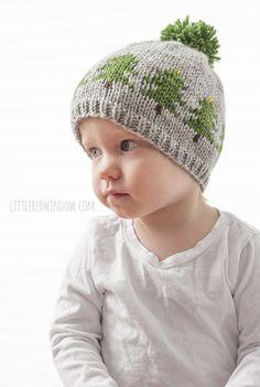 Christmas Tree Farm Hat Knitting Pattern, a fair isle knitting pattern for newborns, babies and toddlers!   littleredwindow.com