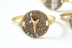 Fossilized Shark Tooth and Pyrite Crystal Cuff by DeaDiaJewelry, $55.00