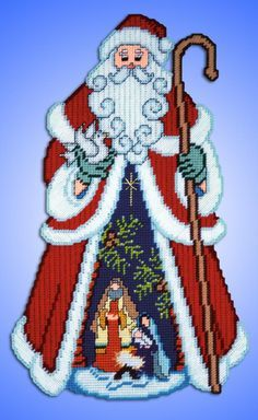 "# 1966 Scenic Santa / 14"" X 22"" / wall decor / 7 ct. / kit incl. all materials you will need/ PLASTIC CANVAS KIT"