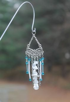 Miniature Fairy Garden Wind Chime, Dollhouse Windchime, Mini Garden Accessory, Silver, Teal, Natural Stones, 027