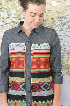 How To Make A One-Of-A-Kind Scarf Shirt! - One Good Thing by Jillee. So simple, a printed scarf sewn to a chambray shirt.