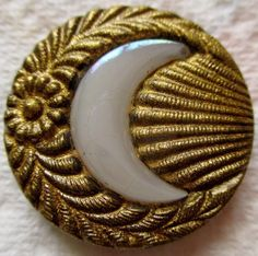 Exquisite LARGE Scarce Antique Victorian Metal BUTTON w/ Iridescent GLASS Moon