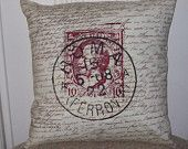 """shabby chic, feed sack, french country, vintage Roman  postmark graphic on brown and creme script print 14"""" x 14"""" pillow sham."""