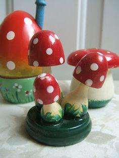 Vintage Erzgebirge wooden mushrooms