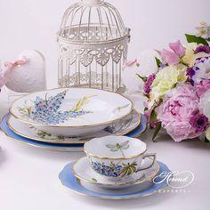 Antique Herend Indian Basket Blue Demitasse Set Rare And Stunning! Herend