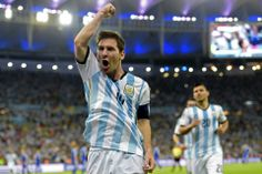 Argentina's forward and captain Lionel Messi celebrates after scoring his team's second goal.