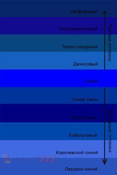 Теплые и холодные оттенки синего цвета