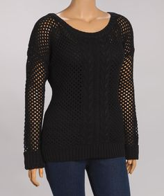 Another great find on #zulily! Black Open Cable-Knit Sweater - Plus by Yoki #zulilyfinds